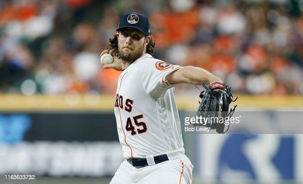 Gerrit Cole of the Houston Astros pitches in the first inning against the Oakland Athletics at Minute Maid Park on July 22 2019 in Houston Texas