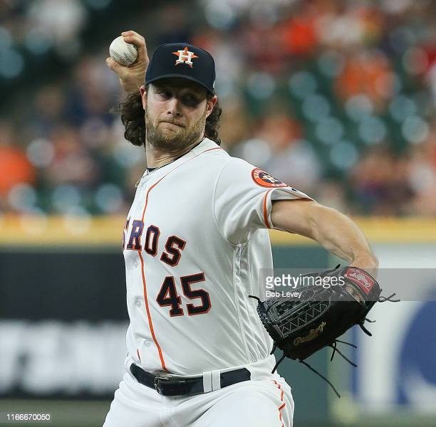 Gerrit Cole of the Houston Astros pitches in the first inning against the Colorado Rockies at Minute Maid Park on August 07 2019 in Houston Texas