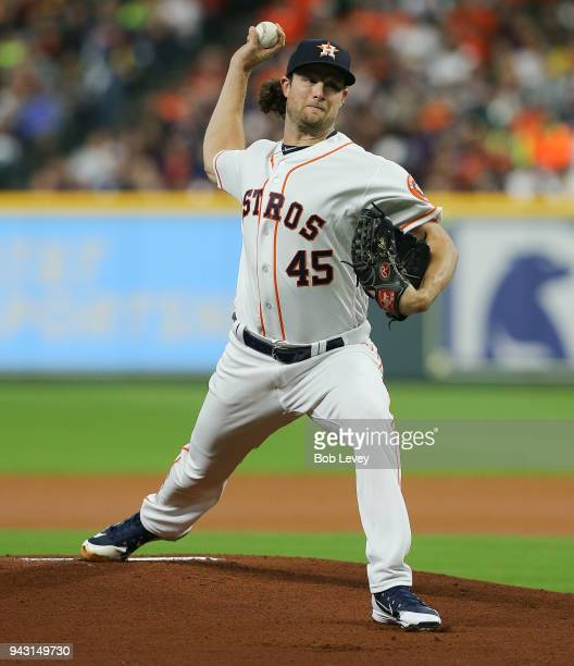 Gerrit Cole of the Houston Astros pitches in the first inning against the San Diego Padres at Minute Maid Park on April 7 2018 in Houston Texas