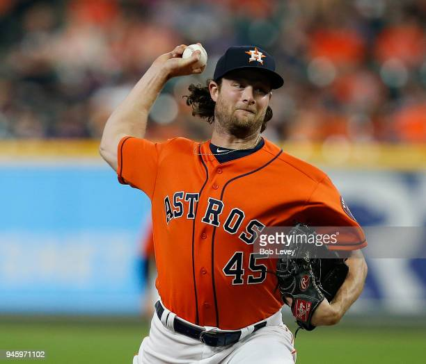 Gerrit Cole of the Houston Astros pitches in the first inning against the Texas Rangers at Minute Maid Park on April 13 2018 in Houston Texas