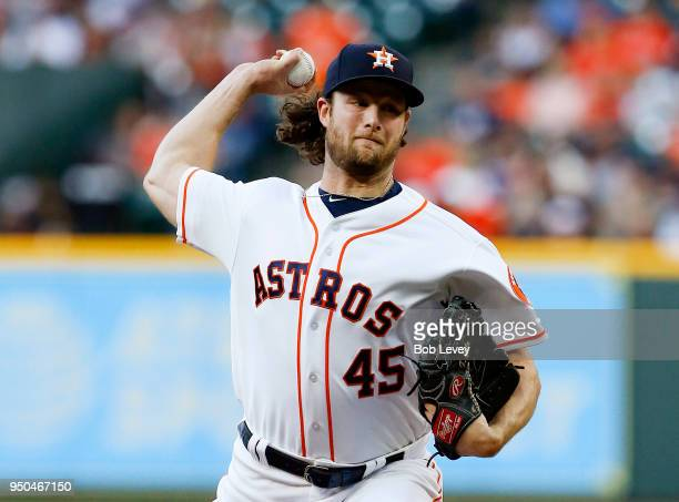 Gerrit Cole of the Houston Astros pitches in the first inning against the Los Angeles Angels of Anaheim at Minute Maid Park on April 23 2018 in...