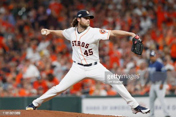 Gerrit Cole of the Houston Astros pitches in the second inning against the Tampa Bay Rays during game five of the American League Divisional Series...