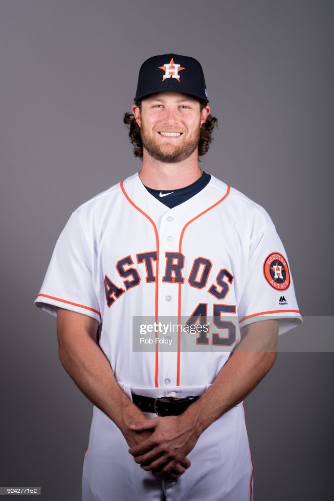 Gerrit Cole #45 of the Houston Astros poses during Photo Day on Wednesday, February 21, 2018 at the Ballpark of the Palm Beaches in West Palm Beach, Florida.