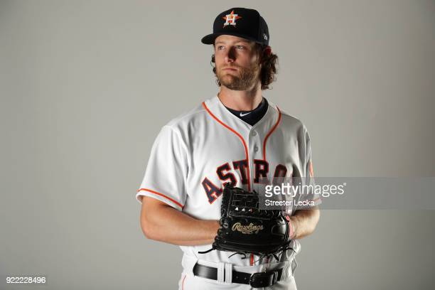 Gerrit Cole of the Houston Astros poses for a portrait at The Ballpark of the Palm Beaches on February 21 2018 in West Palm Beach Florida