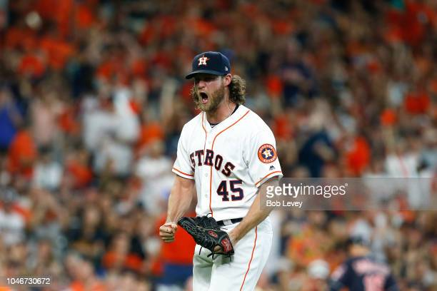 Gerrit Cole of the Houston Astros reacts after a strikeout in the sixth inning against the Cleveland Indians during Game Two of the American League...