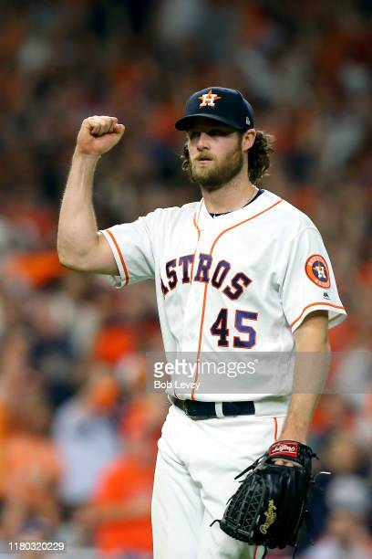 Gerrit Cole of the Houston Astros reacts after retiring the side in the seventh inning against the Tampa Bay Rays in game five of the American League...