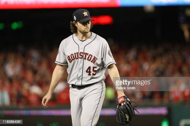 Gerrit Cole of the Houston Astros reacts after retiring the side in the seventh inning against the Washington Nationals in Game Five of the 2019...