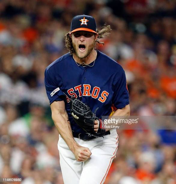 Gerrit Cole of the Houston Astros reacts after striking out Hunter Pence of the Texas Rangers in the fourth inning at Minute Maid Park on May 11 2019...