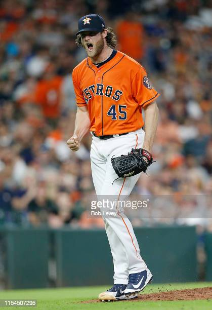 Gerrit Cole of the Houston Astros reacts after striking out Richie Martin of the Baltimore Orioles for his 14th strikeout in the seventh inning at...