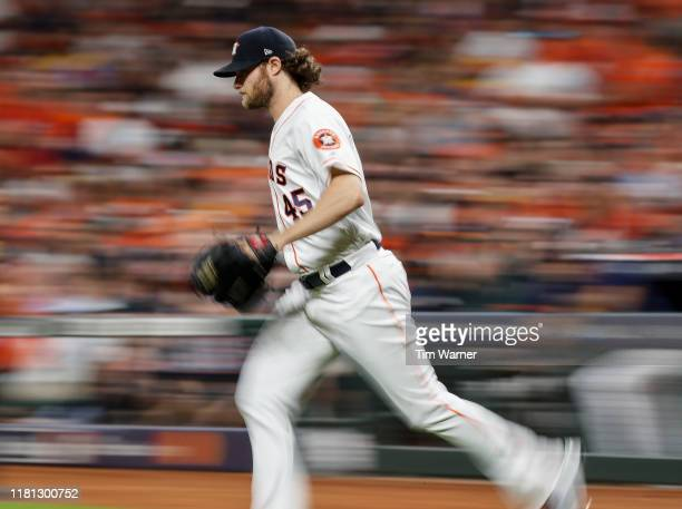 Gerrit Cole of the Houston Astros takes the mound in the eighth inning against the Tampa Bay Rays during game five of the American League Divisional...