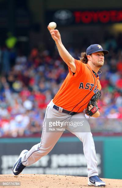 Gerrit Cole of the Houston Astros throws in the first inning against the Texas Rangers at Globe Life Park in Arlington on April 1 2018 in Arlington...