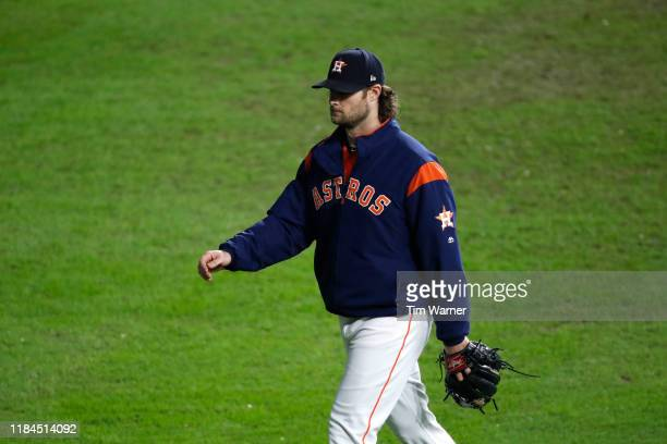 Gerrit Cole of the Houston Astros walks to the bullpen during the fifth inning against the Washington Nationals in Game Seven of the 2019 World...