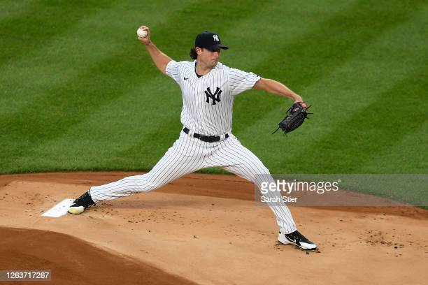 Gerrit Cole of the New York Yankees pitches during the first inning against the Philadelphia Phillies at Yankee Stadium on August 03, 2020 in the...