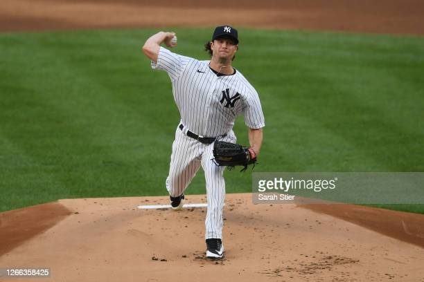 Gerrit Cole of the New York Yankees pitches during the first inning against the Boston Red Sox at Yankee Stadium on August 14, 2020 in the Bronx...