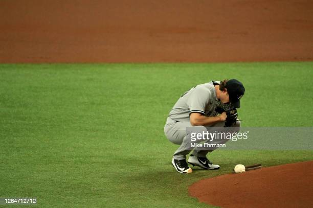 Gerrit Cole of the New York Yankees prepares to pitch during Game 1 of a doubleheader against the Tampa Bay Rays at Tropicana Field on August 08,...