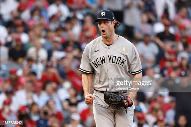 Gerrit Cole of the New York Yankees reacts after closing out the sixth inning against the Los Angeles Angels at Angel Stadium of Anaheim on September...