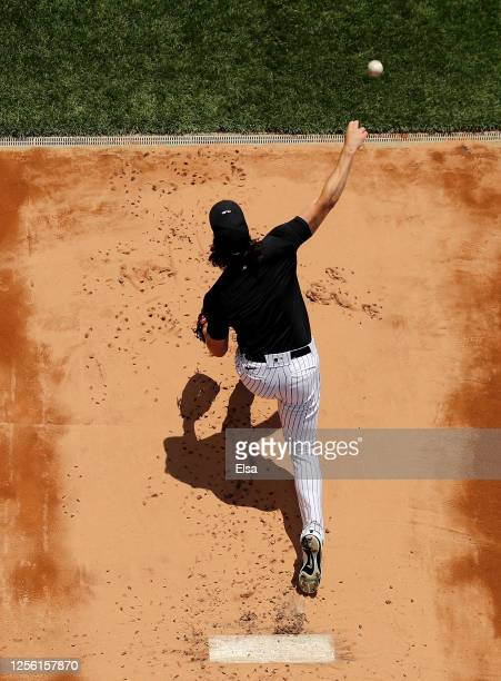 Gerrit Cole of the New York Yankees throws in the bullpen during summer workouts at Yankee Stadium on July 14, 2020 in the Bronx borough of New York...
