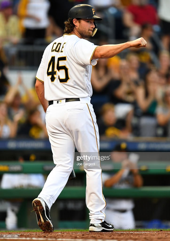 Gerrit Cole #45 of the Pittsburgh Pirates celebrates after scoring during the third inning against the St. Louis Cardinals at PNC Park on July 14, 2017 in Pittsburgh, Pennsylvania.