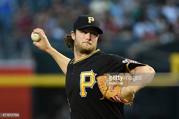 Gerrit Cole of the Pittsburgh Pirates delivers a first inning pitch against the Arizona Diamondbacks at Chase Field on April 24 2015 in Phoenix...