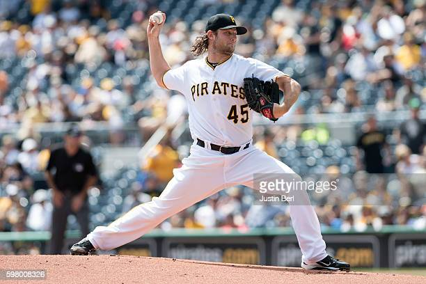 Gerrit Cole of the Pittsburgh Pirates delivers a pitch during the game against the Houston Astros at PNC Park on August 24 2016 in Pittsburgh...