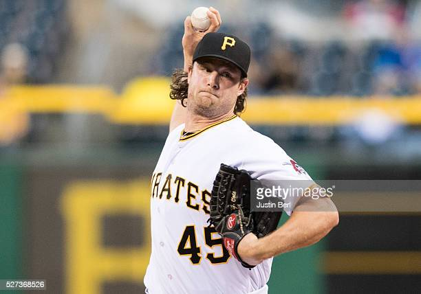 Gerrit Cole of the Pittsburgh Pirates delivers a pitch in the first inning during the game against the Chicago Cubs at PNC Park on May 2 2016 in...