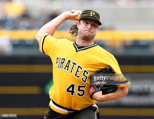 Gerrit Cole of the Pittsburgh Pirates delivers a pitch in the first inning during the game against the Los Angeles Angels of Anaheim at PNC Park on...