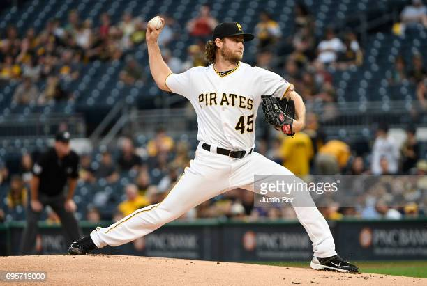 Gerrit Cole of the Pittsburgh Pirates delivers a pitch in the first inning during the game against the Colorado Rockies at PNC Park on June 13 2017...