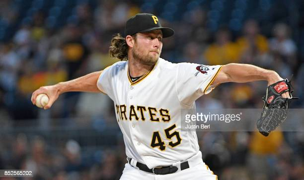Gerrit Cole of the Pittsburgh Pirates delivers a pitch in the first inning during the game against the St Louis Cardinals at PNC Park on September 23...