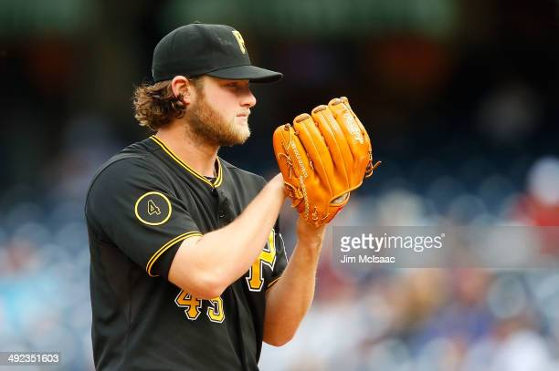 Gerrit Cole of the Pittsburgh Pirates in action against the New York Yankees at Yankee Stadium on May 18 2014 in the Bronx borough of New York City...