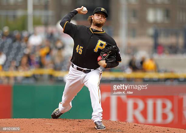 Gerrit Cole of the Pittsburgh Pirates in action during game one of the doubleheader against the St Louis Cardinals at PNC Park on September 30 2015...