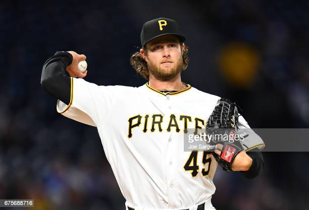 Gerrit Cole of the Pittsburgh Pirates in action during the game against the Chicago Cubs at PNC Park on April 25 2017 in Pittsburgh Pennsylvania