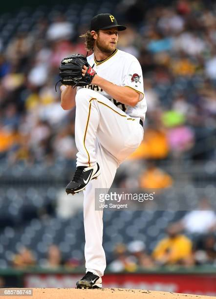 Gerrit Cole of the Pittsburgh Pirates in action during the game against the Washington Nationals at PNC Park on May 17 2017 in Pittsburgh Pennsylvania