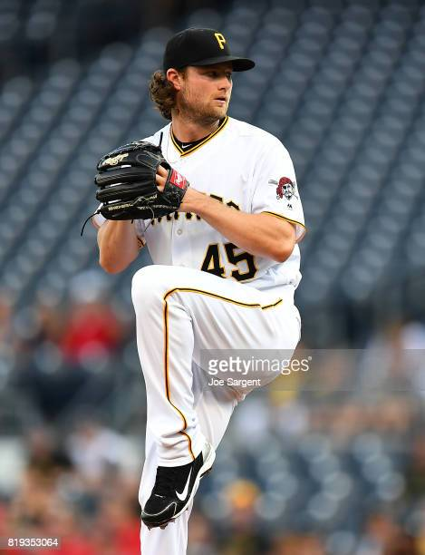 Gerrit Cole of the Pittsburgh Pirates in action during the game against the St Louis Cardinals at PNC Park on July 14 2017 in Pittsburgh Pennsylvania