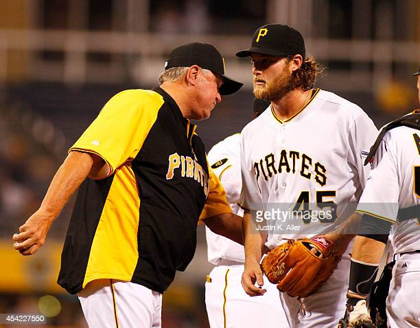 Gerrit Cole of the Pittsburgh Pirates is removed from the game by manager Clint Hurdle in the seventh inning against the St Louis Cardinals during...