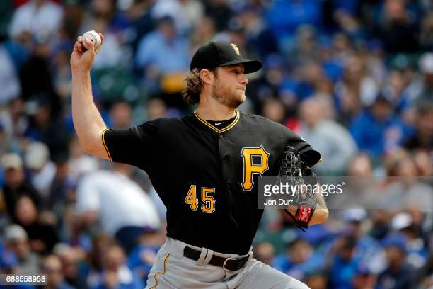 Gerrit Cole of the Pittsburgh Pirates pitches against the Chicago Cubs during the first inning at Wrigley Field on April 14 2017 in Chicago Illinois