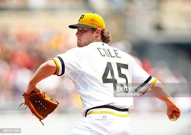 Gerrit Cole of the Pittsburgh Pirates pitches against the Cleveland Indians during the game at PNC Park on July 5 2015 in Pittsburgh Pennsylvania