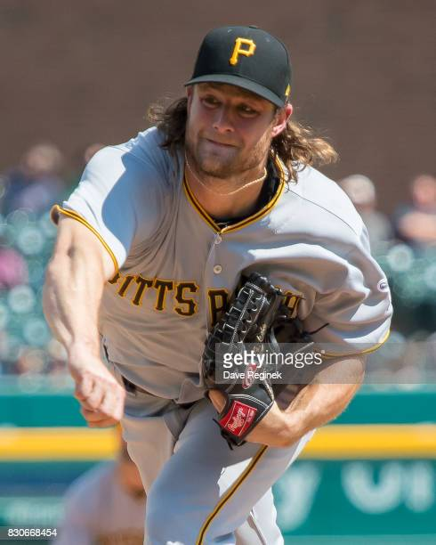 Gerrit Cole of the Pittsburgh Pirates pitches against the Detroit Tigers during a MLB game at Comerica Park on August 10 2017 in Detroit Michigan The...