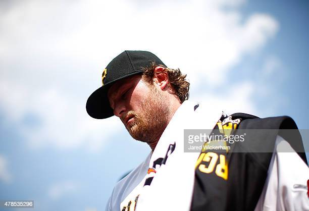 Gerrit Cole of the Pittsburgh Pirates pitches against the Philadelphia Phillies during the game at PNC Park on June 13 2015 in Pittsburgh Pennsylvania