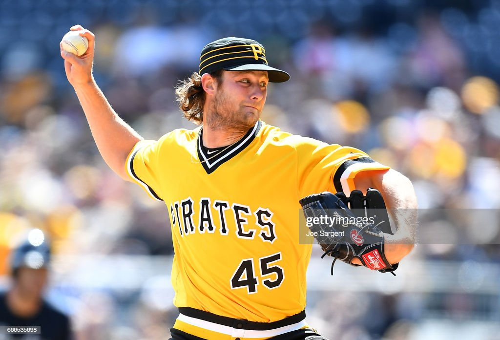 Gerrit Cole #45 of the Pittsburgh Pirates pitches during the first inning against the Atlanta Braves at PNC Park on April 9, 2017 in Pittsburgh, Pennsylvania.