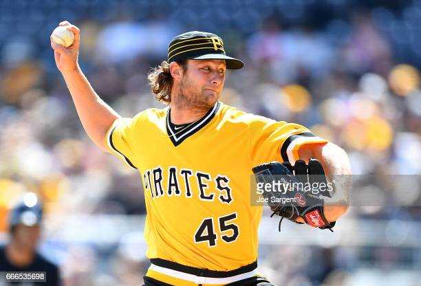 Gerrit Cole of the Pittsburgh Pirates pitches during the first inning against the Atlanta Braves at PNC Park on April 9 2017 in Pittsburgh...