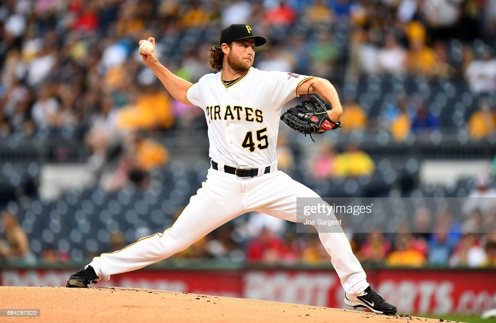 Gerrit Cole #45 of the Pittsburgh Pirates pitches during the first inning against the Washington Nationals at PNC Park on May 17, 2017 in Pittsburgh, Pennsylvania.