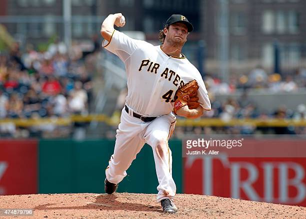 Gerrit Cole of the Pittsburgh Pirates pitches during the game against the Miami Marlins at PNC Park on May 27 2015 in Pittsburgh Pennsylvania