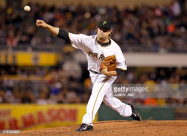 Gerrit Cole of the Pittsburgh Pirates pitches during the game against the New York Mets at PNC Park on May 22 2015 in Pittsburgh Pennsylvania