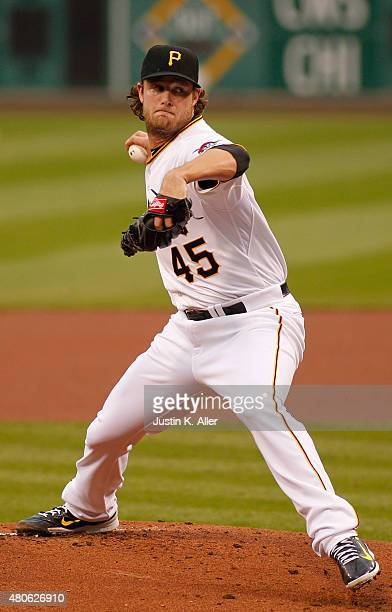 Gerrit Cole of the Pittsburgh Pirates pitches during the game against the St Louis Cardinals at PNC Park on July 10 2015 in Pittsburgh Pennsylvania