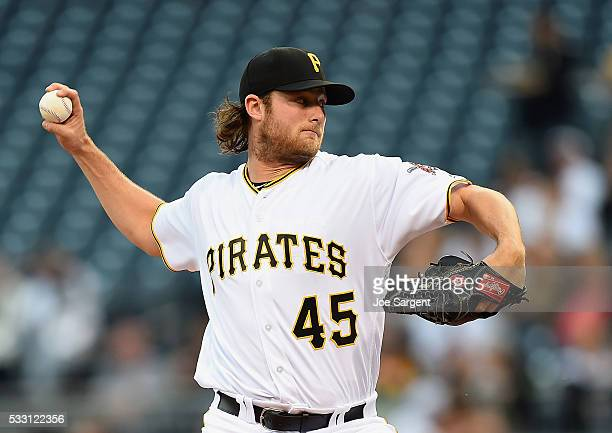 Gerrit Cole of the Pittsburgh Pirates pitches during the third inning against the Colorado Rockies on May 20 2016 at PNC Park in Pittsburgh...
