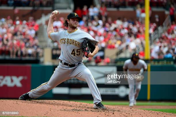 Gerrit Cole of the Pittsburgh Pirates pitches during the third inning against the St Louis Cardinals at Busch Stadium on April 19 2017 in St Louis...
