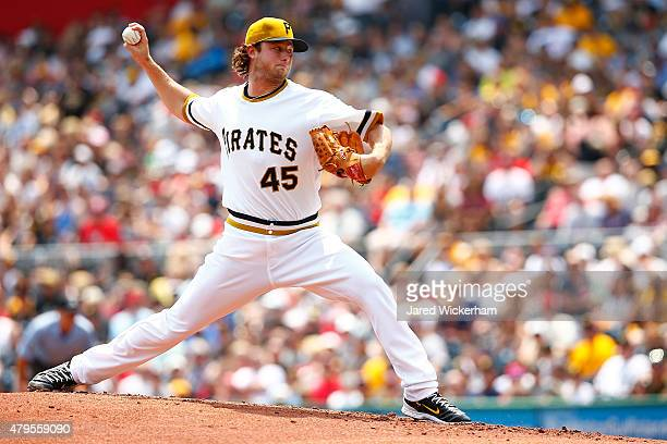 Gerrit Cole of the Pittsburgh Pirates pitches in the first inning against the Cleveland Indians during the game at PNC Park on July 5 2015 in...