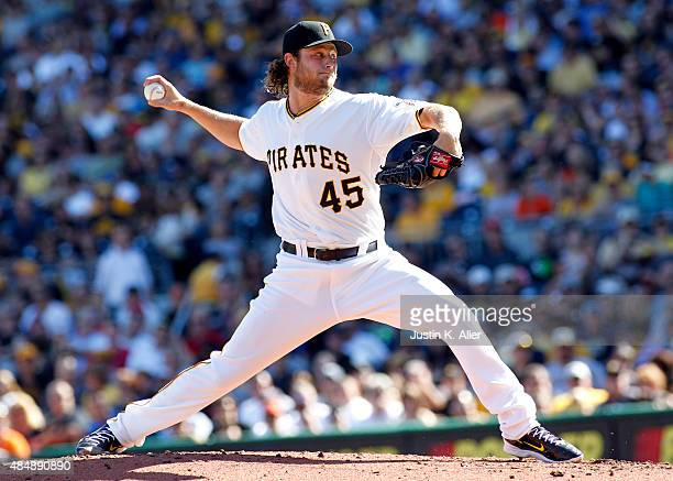 Gerrit Cole of the Pittsburgh Pirates pitches in the first inning during the game against the San Francisco Giants at PNC Park on August 22 2015 in...