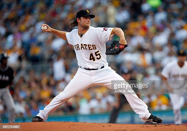 Gerrit Cole of the Pittsburgh Pirates pitches in the first inning during the game against the Miami Marlins at PNC Park on August 19 2016 in...