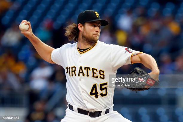 Gerrit Cole of the Pittsburgh Pirates pitches in the first inning against the Chicago Cubs at PNC Park on September 6 2017 in Pittsburgh Pennsylvania